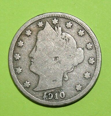 1910  US  Liberty Head ( V ) nickel in  circulated  condition    Free Shipping
