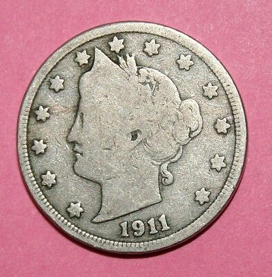 1911  US  Liberty Head ( V ) nickel in  circulated  condition    Free Shipping