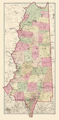 Old County Map - Coos New Hampshire - Comstock 1877 - 23 x 46.37