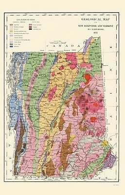 Old State Map - New Hampshire, Vermont Geological - Hitchcock 1877 - 23 x 35.75