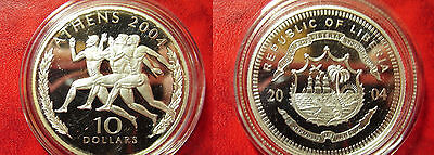 Liberia 2004 Large Silver Proof $10-Olympic Ancient Greek Runners