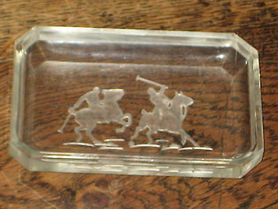 CLEAR GLASS TRAY / DISH LARGE INTAGLIO OF A HORSES & RIDERS PLAYING POLO