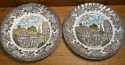 Two Pottery Plates - Royal Tudor Merrie Olde England - Grindley Of Stoke
