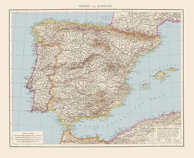 Old Iberian Peninsula Map - Spain and Portugal - Andree 1893 - 23 x 28.33