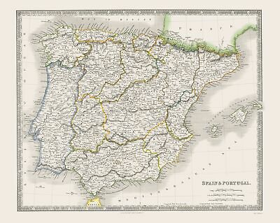 Old Iberian Peninsula Map - Spain and Portugal - Teesdale 1844 - 23 x 28.84