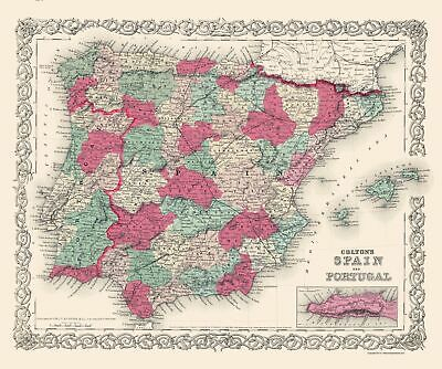 Old Iberian Peninsula Map - Spain and Portugal - Colton 1874 - 23 x 27.53