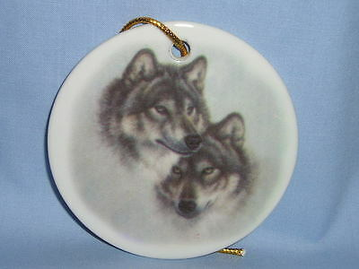 Wolf Pair 3 Inch Round Christmas Tree Ornament Porcelain Fired Decal