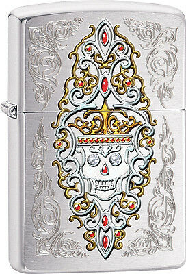 Zippo Choice Engraved Skull Day of the Dead Dia De Los Muertos Chrome 28794 NEW