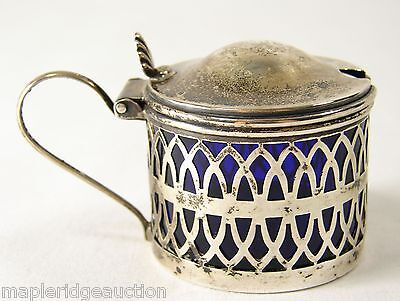 Ornate Antique Sterling Silver Mustard Pot, Cobalt Blue Glass Insert Reticulated