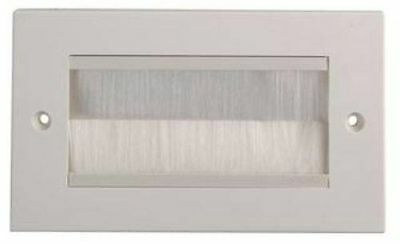White Brush Stripe Cable Entry Double 2 Gang Wall Face Plate White Brushes