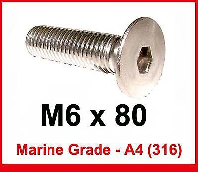 M6 x 70 Stainless Countersunk Bolts 6mm x 70mm Flat A4/316 Marine Stainless x5