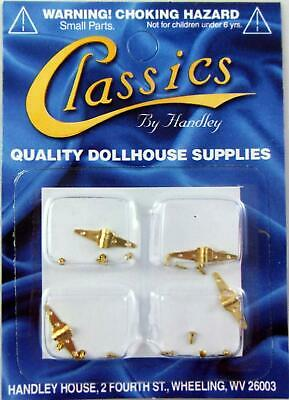 Dolls House Miniature DIY Fixtures Fittings Hardware 4 Brass Triangle Hinges