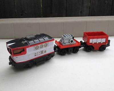 Geotrax Goggles & Bunsen Push Train Lights Sounds 2 Cars Set Red White Smartest