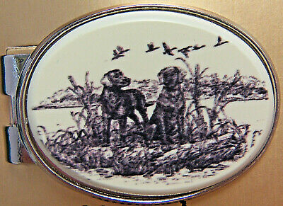 Money Clip Oval Barlow Scrimshaw Carved Painted Art Black Lab Labrador  539545