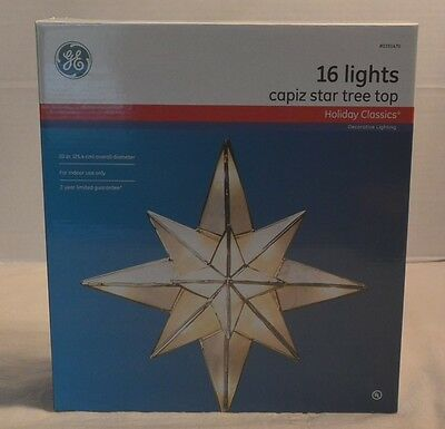 """10"""" Natural Capiz Shell Lighted Tree Top Topper 16 White Lights Large STAR NEW"""