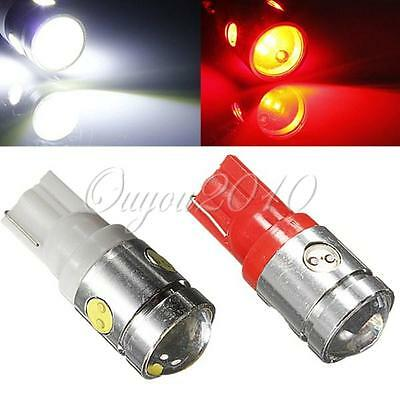 2pcs T10 168 194 W5W 2.5W Cree Q5 LED 4-SMD Light Side Wedge Lamp Bulb White/Red