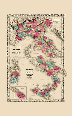 Old Italy Map - Northern and Southern Italy - Johnson 1860 - 23 x 37.32