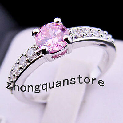 sz7//Jewellery Brand new Pink sapphire lady's 10KT white Gold Filled Ring free