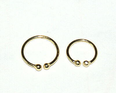 CLIP ON STERLING SILVER PLATED IN 18 Ct GOLD NON PIERCED FAKE NOSE LIP HOOP RING