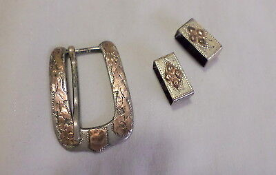 Mexican Early Sterling Belt Buckle W, 2 Bars  Mejia Pre Owned Good