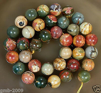 "4MM 6MM 8MM 10MM 12MM 14MM Natural Picasso Jasper Round Ball Loose Beads 15""AAA"