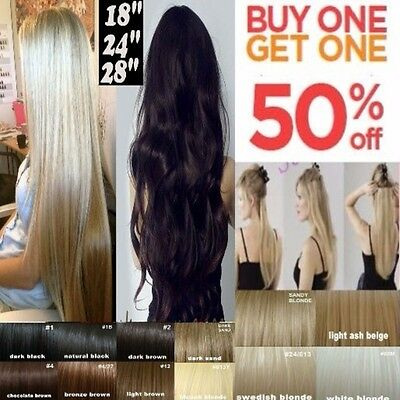 Hair Extensions Half Head Clip in 1 Piece Extension Real Thick Feel as Human