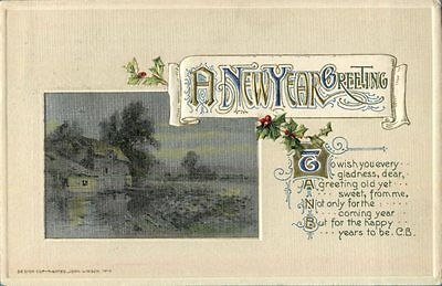 new year greeting sweet from me Winsch antique postcard
