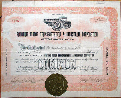 1920 Car/Truck Stock Certificate-Palatine Motor Transportation & Industrial Corp
