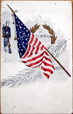 1907 Postcard: Memorial/Decoration Day, Civil War Soldier, American Flag
