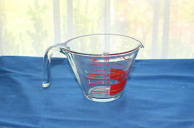 VINTAGE PYREX 1 CUP MEASURING CUP CRYSTAL AND RED MARKINGS