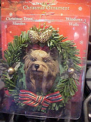 YORKSHIRE TERRIER CHRISTMAS WREATH ORNAMENT