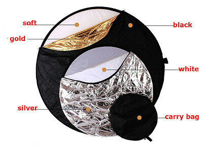 """AU 43"""" 110cm 5-in-1 Photo Photography Light Mulit Collapsible Disc Reflector Kit"""
