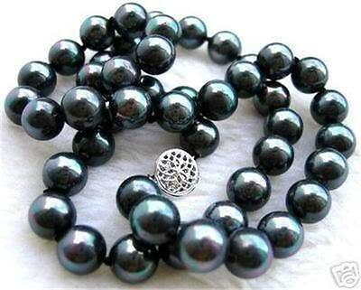 """10mm black south sea shell pearl necklace 18"""" AAA+"""