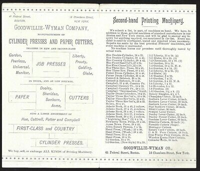 Folding Ad Cd, Whitlock Country Cylinder Printing Press, Goodwillie-Wyman c1882