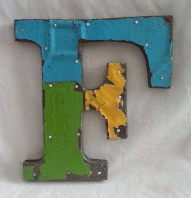 "Antique Tin Ceiling Wrapped 8"" Letter ""F"" Patchwork Metal Mosaic"