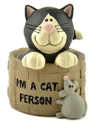 Blossom Bucket-- I'm a Cat Person Figurine with Cat in a Basket *So Cute**
