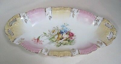 Early 1900's Pastel Gold & Pink Reticualted Handled Floral Bowl Made in Germany
