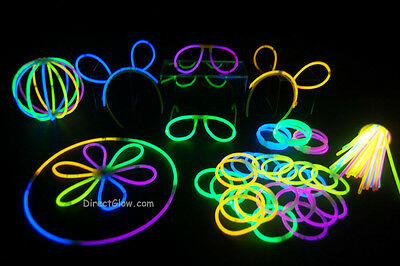 """100- 8"""" Assorted Glow Stick Bracelets Party Pack"""