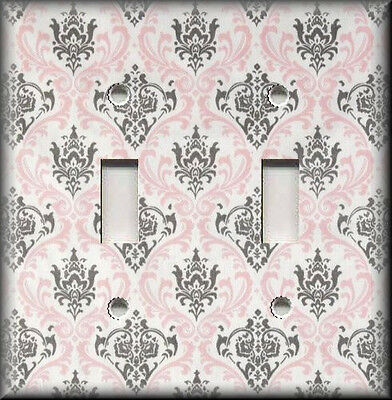 Metal Light Switch Plate Cover Vintage Pink Grey Damask Shabby Chic Home Decor