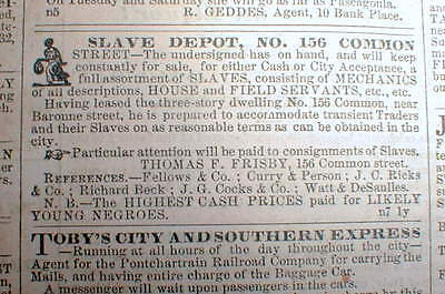 Original 1854 New Orleans Crescent newspaper LOUISIANA w ILLUSTRATED SLAVE AD