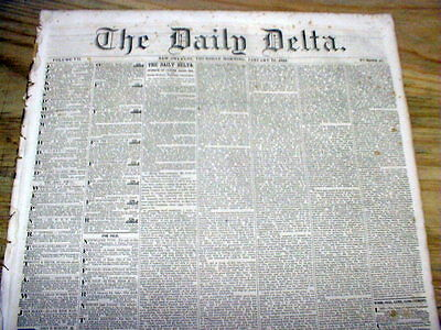 Rare original 1852 New Orleans Delta newspaper LOUISIANA pre CIVIL WAR Slave Ads