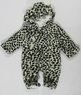 Baby Babies Leopard Animal Print All in One Fleece Snowsuit Newborn 0-24 Months