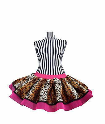 Neon Tutu Skirt 80s Fancy Dress Fun Run Hen Party COSTUME Leopard Pink Band