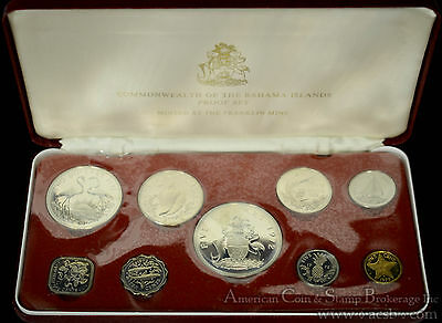 Bahamas 1972 silver 9 Coin (4 Silver) Proof Set Original Case COA As Issued.