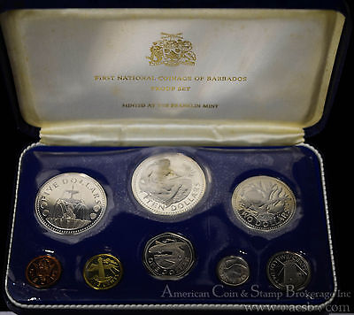 Barbados 1973 KM#PS1 8 Coin (2 Silver) Proof Set Original Case COA As Issued.