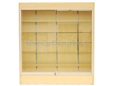 Wall Maple Display Show Case Retail Store Fixture W/Lights Knocked Down #WC6M