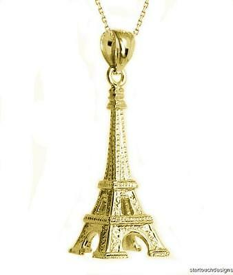 New 14k Yellow Gold 3-D Eiffel Tower Pendant Necklace