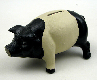 """Pig Piggy Bank Heavy Cast Iron Coin Bank Black & White 7"""" 1/2"""" Long by 4"""" Tall"""
