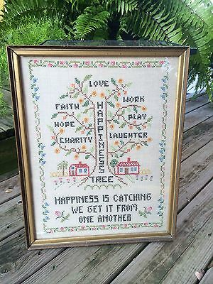 VINTAGE GOLD PAINTED WOOD FRAME WITH CROSS STITCH SAMPLER HAPPINESS TREE