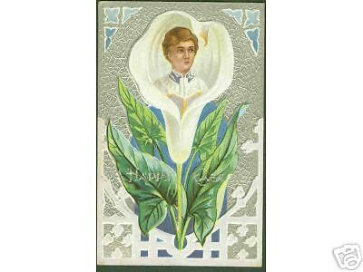 i3) Choir boy - Easter Lily 1913 embossed & silver trim postcard